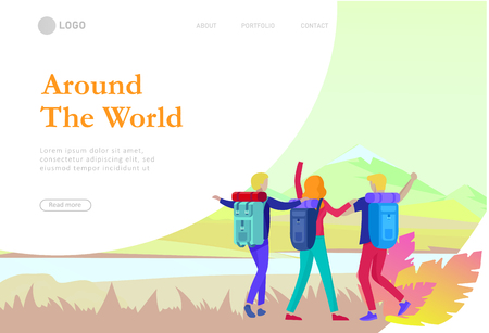 landing page template. People characters woman for hiking and trekking, holiday travel vector, hiker and tourism illustration. Happy Tourists travelling. Vector cartoon style illustration Stock Illustratie