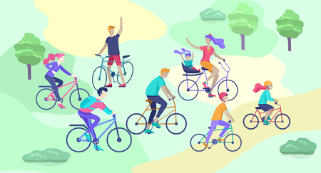 Young woman and man ride the bike in the park, family and friends riding bicycles. Mom, dad and children on bikes at park cycling together. Sports outdoor activity. Cartoon vector illustration