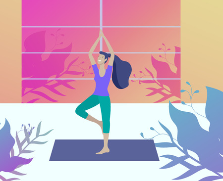 Young Man and woman meditate, sitting in yoga posture, performing aerobics exercise at home. Physical and spiritual practice yoga lesson. Mental health concept. Vector illustration cartoon Foto de archivo - 124006698