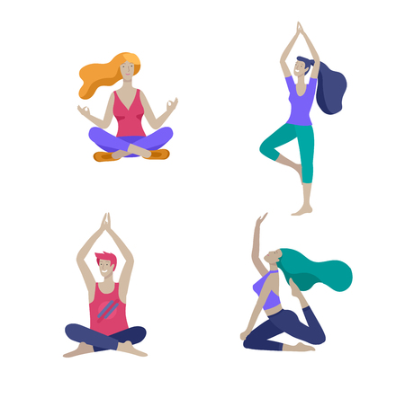 Young Man and woman meditate, sitting in yoga posture, performing aerobics exercise at home. Physical and spiritual practice yoga lesson. Mental health concept. Vector illustration cartoon Foto de archivo - 120199869