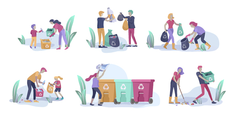 people and children Recycle Sort organic Garbage in different container for Separation to Reduce Environment Pollution. Family with kids collect garbage. Environmental day vector cartoon illustration Illustration