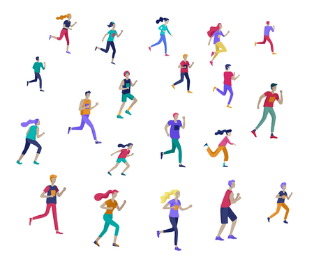 People Marathon Running Sport race sprint, concept illustration running men and women wearing sportswer in landscape. Jogging at Training. Healthy Active Speed Exercise. Cartoon Vector Illustration Vettoriali