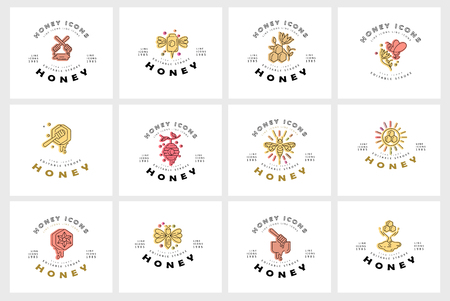 Vector icon and logo honey. Editable outline stroke size. Line flat contour, thin and linear design. Simple icons. Concept illustration. Sign, symbol, element. 向量圖像