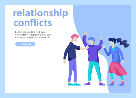 Landing page templates for psyhology mental problems, depression panic attacks, paranoia anger control, relationship family conflict, stress and misunderstanding, psychotherapy character Stock Vector - 124006760