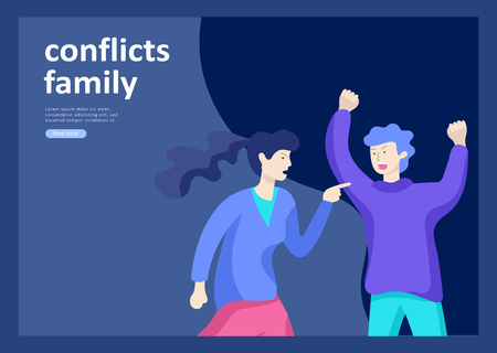 Landing page templates for psyhology mental problems, depression panic attacks, paranoia anger control, relationship family conflict, stress and misunderstanding, psychotherapy character Stock Vector - 124006762