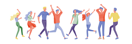 Jumping character in various poses. Group of young joyful laughing people jumping with raised hands. Happy positive young men and women rejoicing together, happiness, freedom, motion people concept. Ilustração