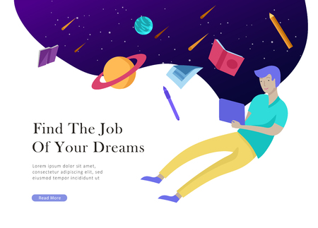 Job presentation banner page. Inspired People flying, choose career or interview a candidate, agency human resources creative find experience. Character find work of dreams, design illustration  イラスト・ベクター素材