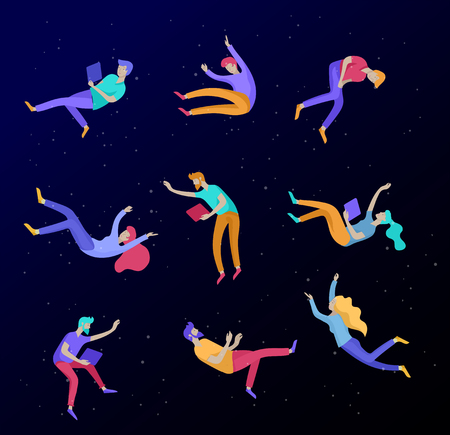 Inspired People flying in space and interacting with gadgets and papers. Characters set moving and floating in dreams, imagination and inspiration. Flat design style, vector illustration.