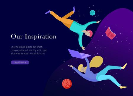 Vorlage für die Zielseite. Inspirierte Menschen fliegen. Erstellen Sie Ihren eigenen Spa-Bereich. Charaktere, die sich in Träumen, Fantasie und Freiheitsinspiration bewegen und schweben, Designarbeit. Flacher Designstil Vektorgrafik