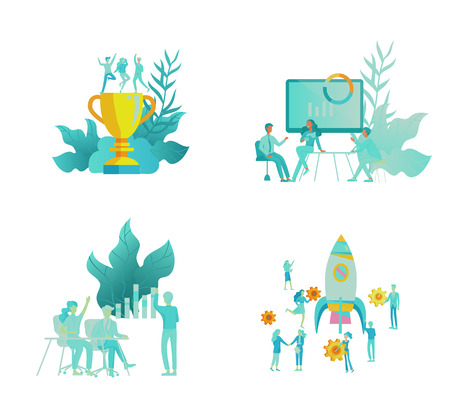 Business and Management Icons with people. Office concept, management and administration. Character planing, web desidn, financial consultant research, start up and solution, vector illustration.