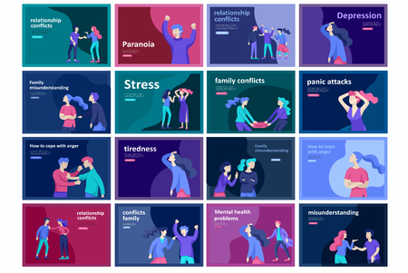 Vector people in bad emotions, character in conflict, angry or tired and in stress. Aggressive people yell at each other. Colorful flat concept illustration. Imagens - 120199958