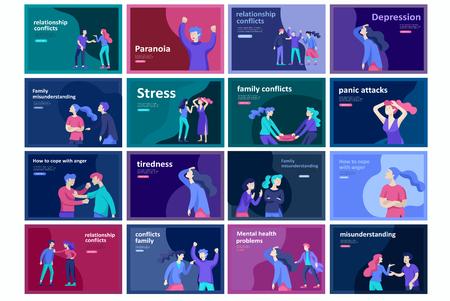 Vector personas con malas emociones, personajes en conflicto, enojados o cansados y en estrés. La gente agresiva se grita. Ilustración colorida del concepto plano.