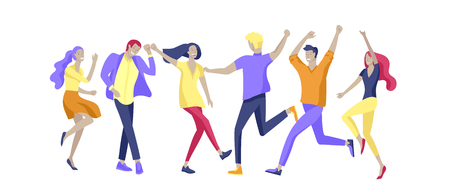 Jumping character in various poses. Group of young joyful laughing people jumping with raised hands. Happy positive young men and women rejoicing together, happiness, freedom, motion people concept. Imagens - 120199959