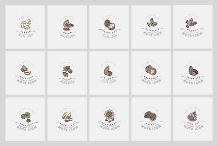 Icono de vector y logo de frutos secos y semillas. Tamaño de trazo de contorno editable. Línea de contorno plano, diseño delgado y lineal. Iconos simples. Ilustración de concepto. Signo, símbolo, elemento. Logos