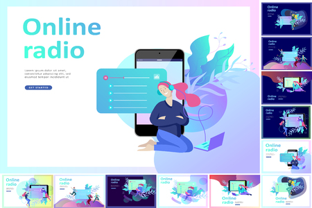 Concept of internet online radio streaming listening, people relax listen dance. Music applications, playlist online songs, radio station. Music blog, sound recording studio. Landing page template. Ilustrace