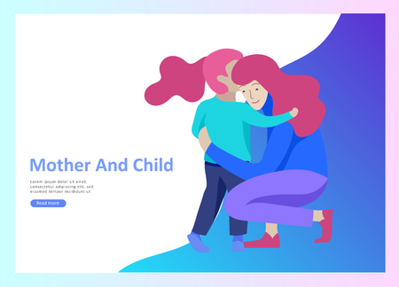 Set of Landing page templates for happy mothers day, child health care, happy childhood and children, goods and entertainment for mother with children. Parent with daughter or son have fun togethers