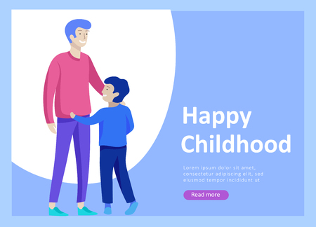 Landing page templates for happy Fathers day, child health care, happy childhood and children, goods and entertainment for Father with children. Parents with daughter and son have fun togethers Banque d'images - 120206780
