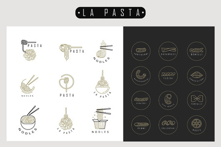 Vector icon and logo for italian pasta or noodles. Editable outline stroke size. Line flat contour, thin and linear design. Simple icons. Concept illustration. Sign, symbol, element. 向量圖像
