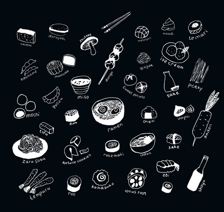 Collection of the different japanese food. Hand drawn line art set of the food icons Standard-Bild - 120206790
