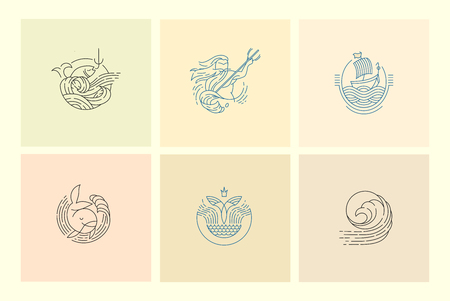 Vector icon for sea or fish, asian food and seafood. Editable outline stroke size. Line flat contour, thin and linear design. Simple icons. Concept illustration. Sign, symbol, element.