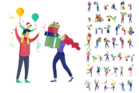 Happy Christmas Day Celebrating together happy. Group of cartoon people in Santa hats and children. Jump and throw gift. Merry Christmas and Happy New Year family character. Illustration, vector Banque d'images - 124006897