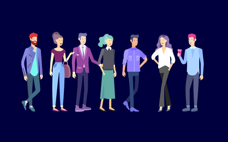 Detailed character business men and women, working people. Business team Lifestyle, stylish clothes style. People with gadgets, backpacks and books, teamwork concept. Flat design people characters.
