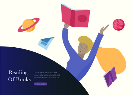 landing page templates set. Inspired People flying in space and reading online books. Characters moving and floating in dreams, imagination and freedom inspiration. Flat design, vector illustration. 向量圖像