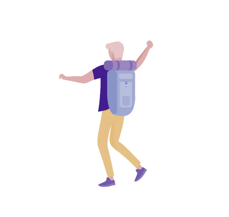 People characters man for hiking and trekking, holiday travel vector, hiker and tourism illustration. Happy Tourists travelling with friends dancing and hugging Illustration