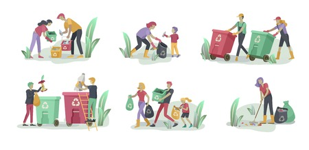 people and children Recycle Sort organic Garbage in different container for Separation to Reduce Environment Pollution. Family with kids collect garbage. Environmental day vector cartoon illustration Ilustração