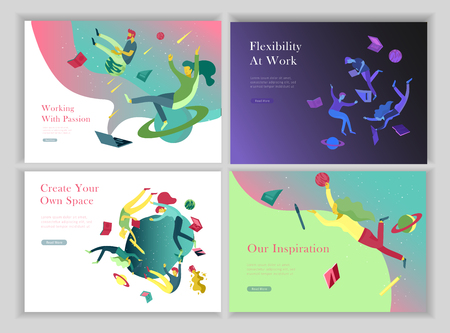 landing page templates set. Inspired People flying. Create your own spase. Characters moving and floating in dreams, imagination and freedom inspiration design work. Flat design style Ilustração