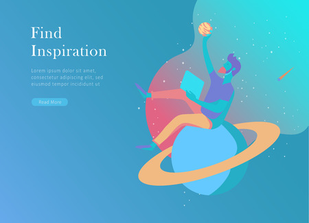 landing page template. Inspired People flying. Create your own spase. Character moving and floating in dreams, imagination and freedom inspiration design work. Flat design style