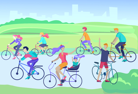 Young woman and man ride the bike in the park, family and friends riding bicycles. Mom, dad and children on bikes at park cycling together. Sports outdoor activity. Cartoon vector illustration Reklamní fotografie - 123917345