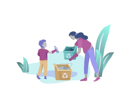 Woman and boy Recycle Sort organic Garbage in different container for Separation to Reduce Environment Pollution. Mather with child collect garbage. Environmental day vector cartoon illustration  イラスト・ベクター素材