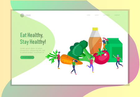 Landing page template with Happy People with vegetable and healthy food, jumping and dansing. Veggie recipe, vegetarian diet and detox concept, eco friendly lifestyle. Colorful illustration