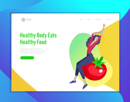 Landing page template with Happy People with vegetable, woman jumping and dansing. Vegetarianism, healthy lifestyle. Veggie recipe, vegetarian diet and detox, eco friendly. Colorful illustration Ilustração
