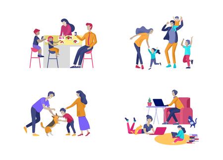 Raccolta di hobby e attività familiari. Mamma, papà e figli cenano, portano a spasso il cane, ballano e saltano, si rilassano a casa con i gadget insieme. Fumetto illustrazione vettoriale Cartoon