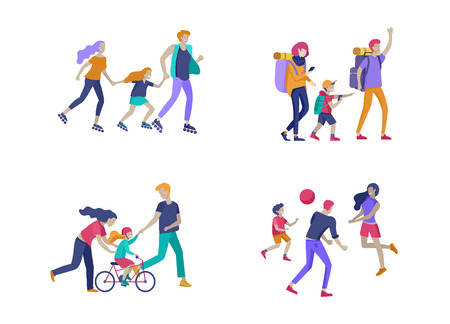 Collection of family hobby activities. Mother, father and children teach daughter to ride bike, walking hiking and treveling, roller skating, play ball together. Cartoon vector illustration