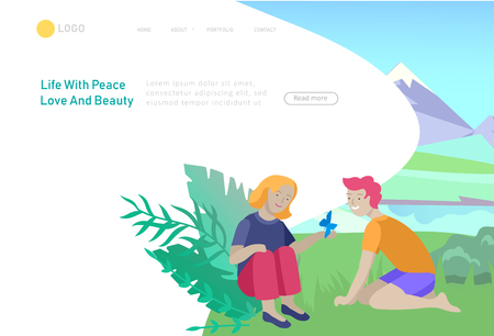 Landing page template with children girl and boy see a butterfly. Outdoor activities concept. Cartoon illustration