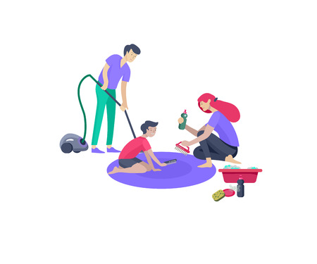 Collection of family hobby and activities. Mother, father and children clinning home. Cartoon vector illustration Ilustração