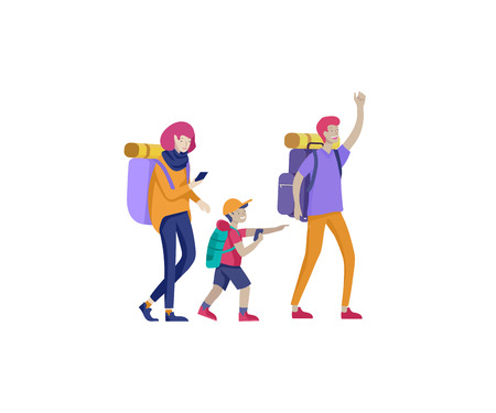 Collection of family hobby activities. Mother, father and children walking hiking and treveling together. Cartoon vector illustration