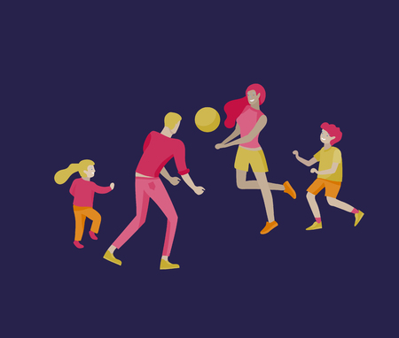 Collection of family hobby activities. Mother, father and children play ball together. Cartoon vector illustration Ilustração
