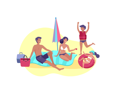 Collection of family summer hobby activities. Mother, father and children sunbathing, swimming, traveling together. Cartoon vector illustration Ilustração