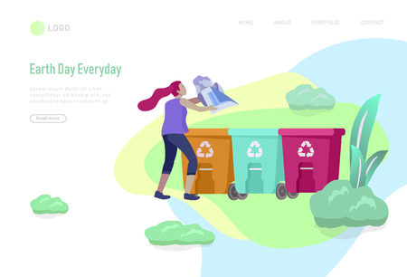 Landing page template with people Recycle Sort Garbage in different container for Separation to Reduce Environment Pollution. Family with kids collect garbage. Earth Day vector cartoon illustration  イラスト・ベクター素材