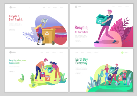 Landing page template with people Recycle Sort Garbage in different container for Separation to Reduce Environment Pollution. Family with kids collect garbage. Earth Day vector cartoon illustration 일러스트