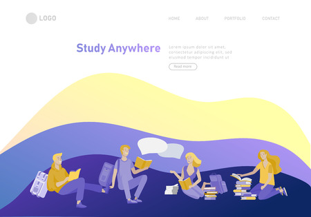 Set of web page design templates with relaxed learning people outdoor for online education, training and courses. Modern vector illustration concepts for website and mobile website development Ilustração