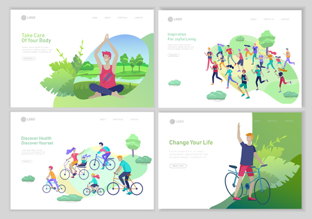 Landing page template with running man, family riding bicycles, man doing yoga. People performing sports outdoor activities concept at park or Nature, healty life style. Cartoon illustration