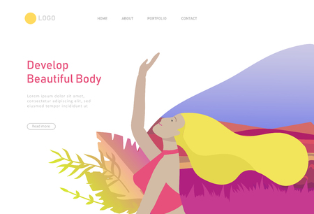 Web page design template with woman meditate, sitting in yoga posture at home and at outdoor. Practice yoga lesson on nature. Mental health concept. Vector illustration cartoon Ilustração