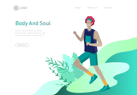 Landing page template with running People, man doing running workout . Healty life concept. People performing sports outdoor activities. Cartoon illustration