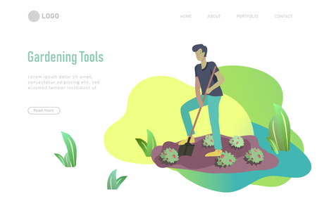 Harvesting and gardening people man and woman doing farming and garden job, watering, planting, growing and transplant sprouts. Reaping crop concept Ilustração