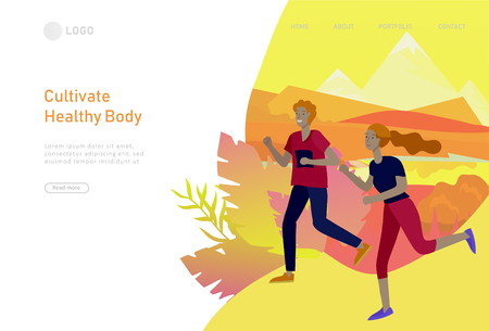 Landing page template with running group People, man doing workout, couple running on sunset. Healty life concept. People performing sports outdoor activities. Cartoon illustration